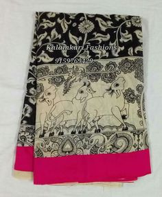 Kalamkari  black  and white sarees with border work