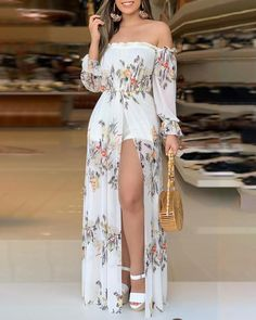 2020 Autumn Women Fashion Holiday Jumpsuit Casual Asymmetrical Off Shoulder Romper floral Print Culotte Design Thigh Slit Romper Maxi Dress With Slit, Bodycon Dress, Havanna Party, Fashion Pattern, Trend Fashion, Style Fashion, Lolita Fashion, Woman Fashion, Fashion Fashion