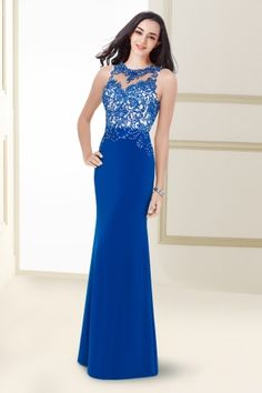 Fantastic Sheath Column Beaded Bustier Evening Dress with Jewel Neckline