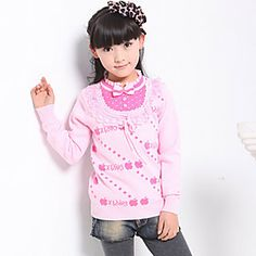Girl's Round Neck Bowknot Two Piece Like Sweaters