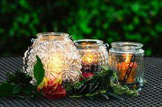 Set of 3 Glass wedding lanterns vintage mason jar | Etsy