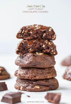 Andes Mint Chip Soft Fudgy Chocolate Cookies - Big, thick, fudgy chocolate cookies with a hint of mint and loads of chocolate in every bite!