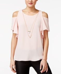 BCX Juniors' Ruffle-Sleeve Cold-Shoulder Top with Necklace | macys.com