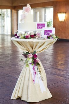Tulle table skirt along with the other details make this cake table stand out and look so fancy! - Will probably use something else for the cake table, but a high boy may work well for holding bride's bouquet ( no attendants ) and bride/groom gifts. Purple Wedding, Wedding Flowers, Dream Wedding, Trendy Wedding, Cascading Flowers, Wedding Navy, Reception Decorations, Event Decor, Vintage Table Decorations