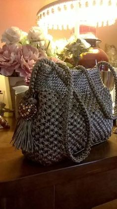 This Pin was discovered by Нат Crochet Fabric, Fabric Yarn, Knit Crochet, Crochet Handbags, Crochet Purses, Crochet Bags, Crochet Designs, Crochet Patterns, Embellished Purses
