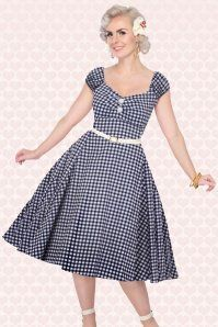 Collectif Clothing Dolores Swing Dress Navy Blue Gingham 14756 20141213 0013W2 Model foto
