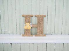 Items similar to Custom monogram letter fabric flower yellow rose hemp twine rustic country wedding home decor gift door lace pearls jute baby shower nursery on Etsy Flower Nursery, Monogram Wall, Rustic Flowers, Fabric Flowers, Diy Projects, Lettering, Handmade Gifts, Frame, Etsy