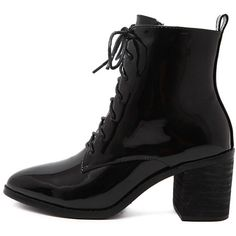 SheIn(sheinside) Black Chunky Heel Patent Leather Boots ($43) ❤ liked on Polyvore featuring shoes, boots, black patent boots, high heel boots, chunky-heel boots, patent leather boots and black shoes