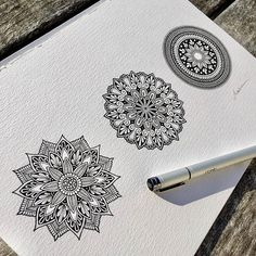 Mandala zentangle zenart designs black on white