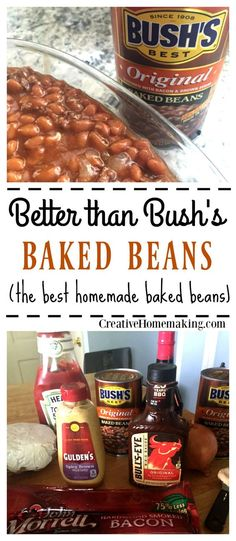than Bush's Baked Beans Easy recipe for homemade baked beans that will make everyone ask for more. Better even than Bush's baked beans!Easy recipe for homemade baked beans that will make everyone ask for more. Better even than Bush's baked beans! Bushs Baked Beans Recipe, Simple Baked Beans Recipe, Baked Beans Crock Pot, Canned Baked Beans, Best Baked Beans, Homemade Baked Beans, Baked Bean Recipes, Crockpot Recipes, Cooking Recipes