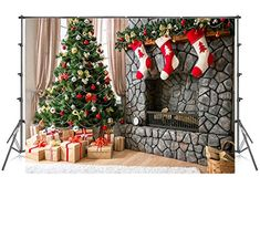 Cartoon Photography Backdrop Christmas 5x7 Photo Background Xmas Trees Gold Fall Leaves Seamless Photo Studio Backgrounds for Holiday Child Pictures