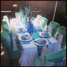 Lovely table at a Frozen Birthday Party! See more party ideas at CatchMyParty.com!