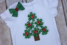 Girl Christmas Tree Boutique Outfit or T shirt Christmas Ribbon and Hair Bow Newborn 1st Christmas Personalized Gift