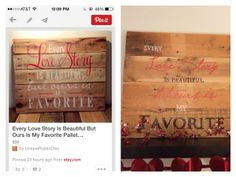 Inspiration from Etsy. Wood Pallet Sign. Easy.