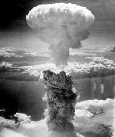 Mushroom cloud from the atomic explosion over Nagasaki at 11:02 a.m, August 9, 1945