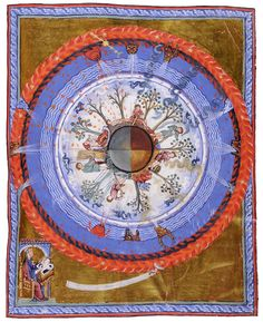 13th-century illustration modeled on a design by Hildegard von Bingen, depicting the four seasons of a spherical Earth (courtesy State Library of Lucca)