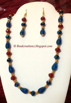 Blue metallic beads, red crystal beads and natural stone teardrop beads necklace set