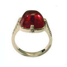 Dalben Red Tourmaline Diamond White Gold Ring