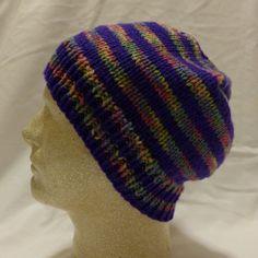 Purple Dreams  Med/lg beanie in narrow stripes by PurlyShells808, $15.00