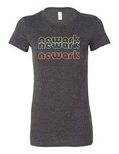 Newark New Jersey Retro 6004 Premium Women's Crewneck T-Shirt Slogan Dark Gray Heather XX-Large, Grey