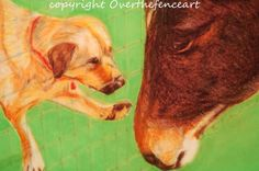 Animal Art Dog and Horse Fine Art Print Greeting Card by overthefenceart on Etsy