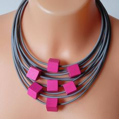 Strand necklace with pink cubes beads, Wood Beads, Wooden necklace, Wood necklace, Pink wood beads , pink necklace, Gray textile necklaces by COLORIKA on Etsy https://www.etsy.com/uk/listing/545063772/strand-necklace-with-pink-cubes-beads