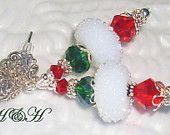 Lampwork Earrings, Christmas Earrings, Red and Green Earrings, Holiday Lampwork Earrings, White Lampwork Earrings, Snowball Earrings