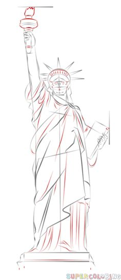 How to draw the Statue of Liberty step by step. Drawing tutorials for kids and beginners.