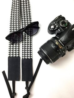 Camera Straps Cotton and Gray Waxed Canvas in Black and | Etsy Photography Gear, Video Photography, Little Camera, Camera Straps, Waxed Canvas, Cotton Bag, You Bag, Houndstooth, Black And White