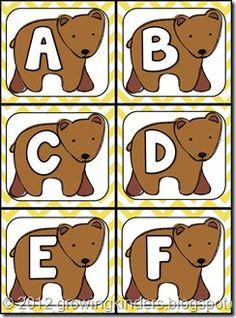 free printable letter cards (upper and lower case). goes w/ brown bear unit! Prek Literacy, Preschool Curriculum, Preschool Lessons, Kindergarten, Bear Theme Preschool, Preschool Themes, Classroom Themes, Teddy Bear Day, Teddy Bears