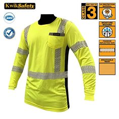 KwikSafety High Visibility Moisture Wicking Long Sleeve Safety Shirt | Silver Fishbone Design Reflective Tape | ANSI Class 3 Construction Security Safety Work wear for Men Women | Yellow XL  CUSTOMIZATION: KwikSafety provides customization on all our apparel products. Our minimum order quantity is 25 pieces. This will help you receive the best price. Also, our standard shipping is FREE. For more inquiries, please contact sales@kwikspace.com.  UNISEX: This safety vest is great for both ...