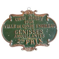 French Award Presentation Plaque, 1958. Genisses Amulent - more heifers! Great age on this one.