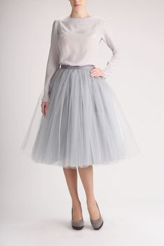 Love this colour. grown up tutu style. The cherry tutu tulle skirt petticoat high quality tutu by Fanfaronada Fashion Mode, Modest Fashion, Fashion Dresses, Lolita Fashion, Emo Fashion, Skirt Fashion, Fashion News, Grey Tulle Skirt, Tulle Skirts