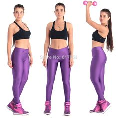 V High Waist Candy ColoursNeon Black Leggings Women's Sports Pants Fashion Elastic Strtched Fitness Gym Girls Best Shiny117