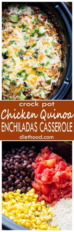 Crock Pot Chicken Quinoa Enchiladas Casserole - Packed with chicken, tomatoes, quinoa, and more, this enchiladas casserole is healthy, delicious, and it's prepared in the crock pot.  #ad @huntschef  #HuntsDifference