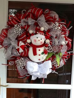 Red and Silver Mesh, A Christmas Snowman with Silver Ribbon , Snowflakes and Peppermints