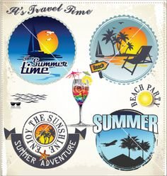 Summer vacation and travel labels vector by totallyout  on VectorStock®