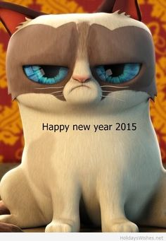 Happy new year 2015 grumpy cat cartoon wallpaper