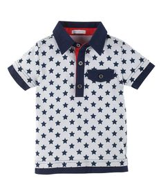 Look what I found on #zulily! Petit Lem White & Navy Star Polo - Infant, Toddler & Boys by Petit Lem #zulilyfinds