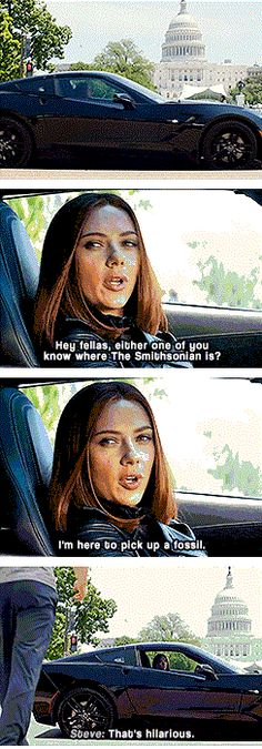 Captain America: The Winter Soldier. Natasha Romanov (the Black Widow) and Steve Rogers (Captain America). Natasha Romanov is the sassiest. Steve Rogers is not amused. (Click-through for gifs) Marvel Funny, Marvel Dc Comics, Marvel Movies, Marvel Avengers, Steve Rogers, Infinity War, The Maxx, Romanogers, Dc Memes