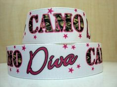 5 Yards 7/8 1 Grosgrain Ribbon Camo Diva Printed by CharlyAndCo, $5.75