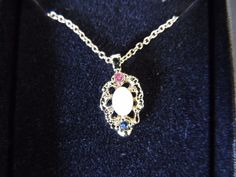 Vintage Designer Van Doran Goldtone Pendant Necklace Genuine Ruby Sapphire Opal  #VanDoran