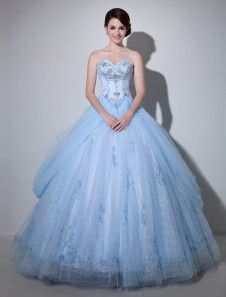 Light Sky Blue Ball Gown Sweetheart Neck Strapless Lace-up Embroidered Tulle Fabulous Bridal Wedding Gown