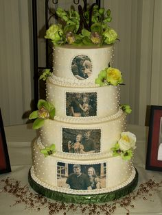 Photos on wedding cake--do dot borders in ivory with words @Laura Hilliard...do you like the scrolls as borders? I think it looks good, otherwise could do ribbon. Also a bit of flowers for accent will prob look best if we dcan get some since the rest will be black/white/sepia...