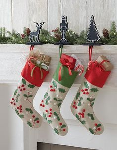 Super cute stocking with felt holly and berry appliques. Includes a loop for hanging. Made of 100% cotton, this stocking has a timeless look that you can use during holidays to come. #12DaysofDeals2016
