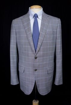 ERMENEGILDO ZEGNA Blazer 52 US 42 Reg L Fit Mila Blue Brown Check 2B Wool Jacket #ErmenegildoZegna #TwoButton