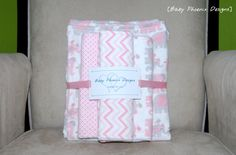 """Baby Girl Flannel and Minky Blanket Gift set!! Blanket with 3 Burp Cloths 29"""" x 35"""" Pink Elephants and Chevron #etsy #design"""