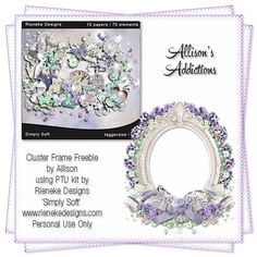 Allison's Addictions: CT Tag Show Off - Verymany 'Beatrix' and Rieneke Designs - Simply Soft and FTU Cluster Frame