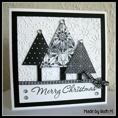 handmade Christmas card from Flower Sparkle ... black and white ... snowflake embossing folder background ... three triangle trees cut from black and white patterned papers ... cute black and white gingham ribbon and bow ... large sentiment in handwriting script ... beautiful!! ...Stampin' Up!