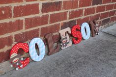 Sock Monkey Nursery Wooden Letters/ Sock Monkey by BASECreations